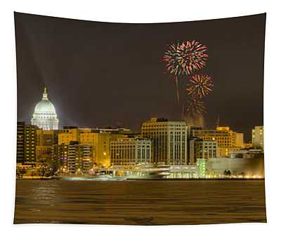 Madison Skyline New Years Eve Tapestry