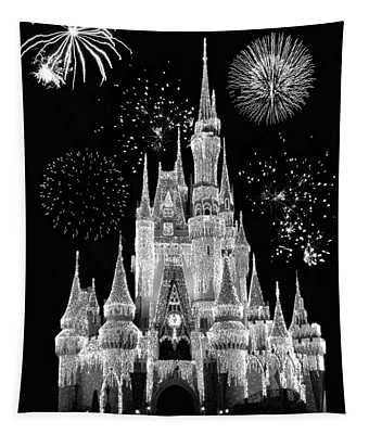 Magic Kingdom Castle In Black And White With Fireworks Walt Disney World Tapestry