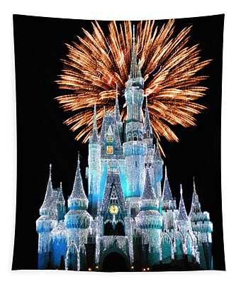 Magic Kingdom Castle In Frosty Light Blue With Fireworks 02 Tapestry