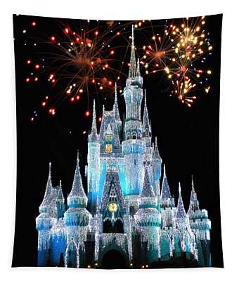 Magic Kingdom Castle In Frosty Light Blue With Fireworks 03 Tapestry