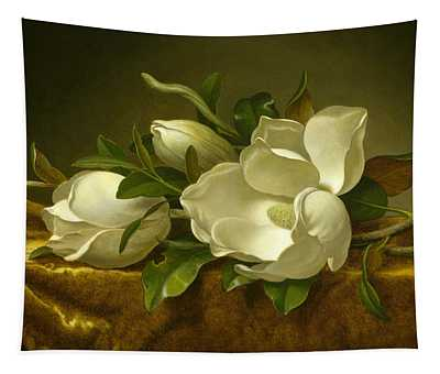 Magnolias On Gold Velvet Cloth Tapestry