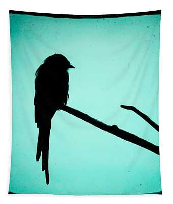 Magpie Shrike Silhouette Tapestry