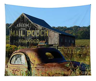 Mail Pouch Barn And Old Cars Tapestry