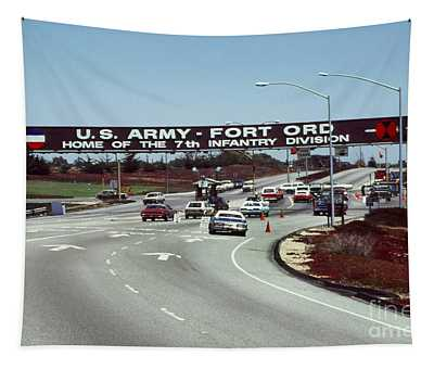 Main Gate 7th Inf. Div Fort Ord Army Base Monterey Calif. 1984 Pat Hathaway Photo Tapestry