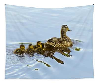 Mallard And Chicks  Tapestry