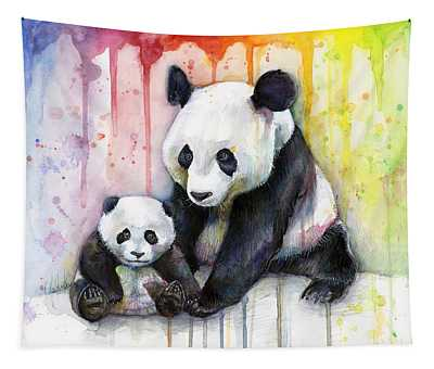 Panda Watercolor Mom And Baby Tapestry