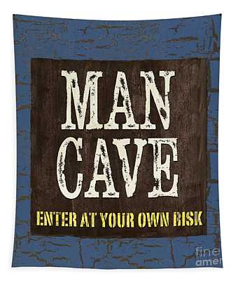 Man Cave Enter At Your Own Risk Tapestry