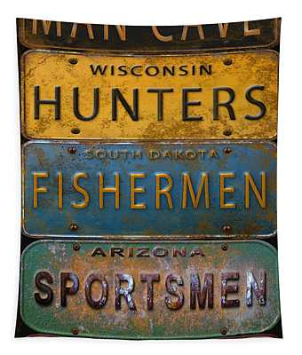 Man Cave-license Plate Art Tapestry