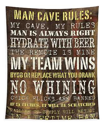 Man Cave Rules 2 Tapestry
