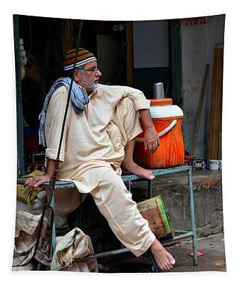 Man Sits And Relaxes In Lahore Walled City Pakistan Tapestry