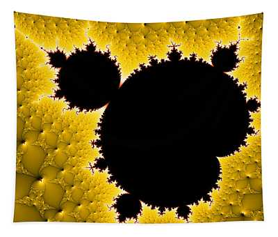 Mandelbrot Set Black And Yellow Fractal Art Tapestry