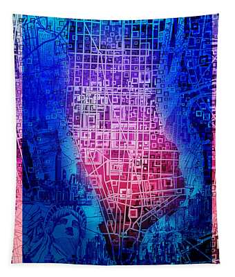 Manhattan Map Abstract 5 Tapestry