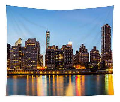 Manhattan Panorama And Queensboro Bridge Tapestry