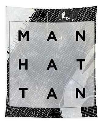 Manhattan Square Bw Tapestry