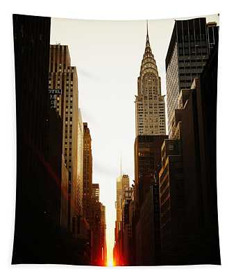Manhattanhenge Sunset And The Chrysler Building  Tapestry