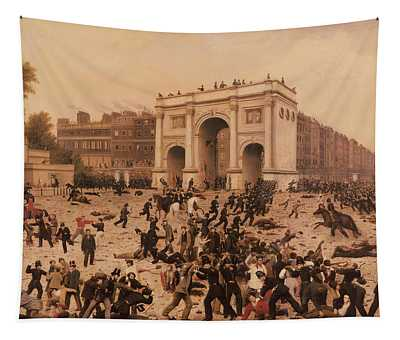 Manhood Suffrage Riots In Hyde Park, 1866 Oil On Canvas Tapestry