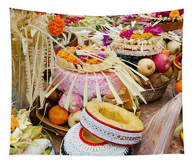 Many Of The Offerings On Cart In Front Tapestry