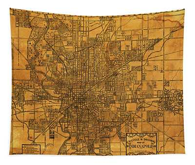Map Of Indianapolis Vintage Bicycle And Driving Street Diagram On Weathered Parchment Tapestry