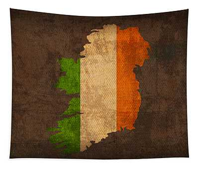 Map Of Ireland With Flag Art On Distressed Worn Canvas Tapestry