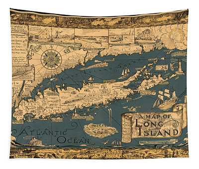 Map Of Long Island Tapestry