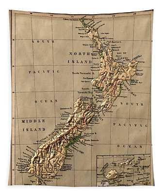 Map Of New Zealand 1880 Tapestry