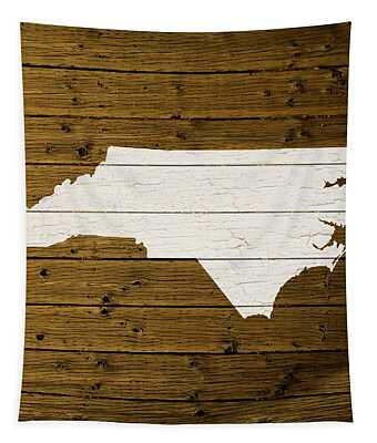 Map Of North Carolina State Outline White Distressed Paint On Reclaimed Wood Planks. Tapestry