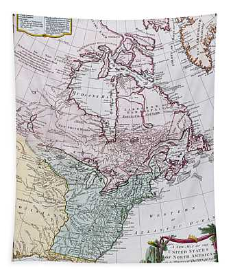 Map Of The Usa And The British Dominions In North America Tapestry