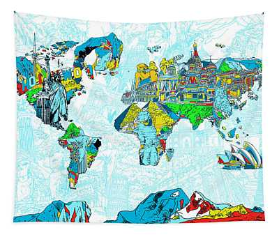 Map Of The World Landmark Collage 2 Tapestry