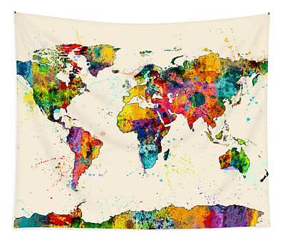 Map Of The World Map Watercolor Tapestry