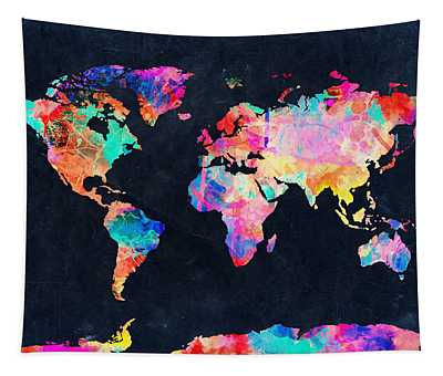 Map Of The World Watercolor 4 Tapestry