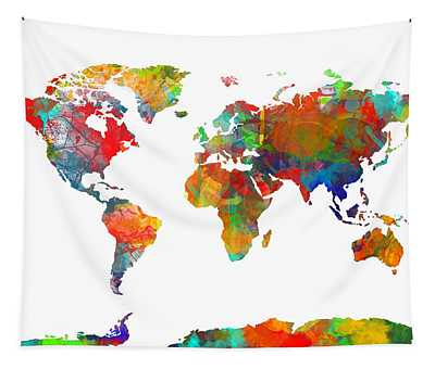 Map Of The World Watercolor Tapestry