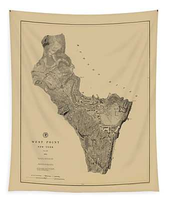 Map Of West Point 1883 Tapestry