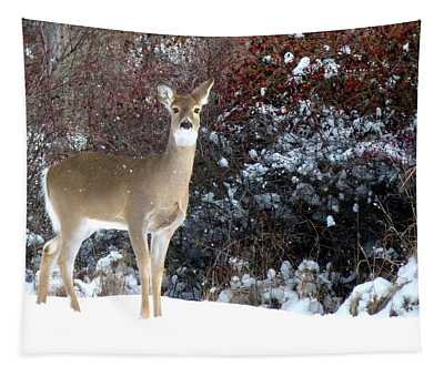 March Snow And A Doe Tapestry