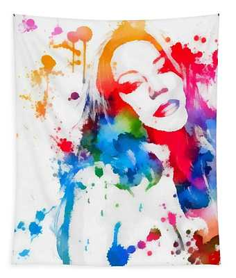 Mariah Carey Watercolor Paint Splatter Tapestry