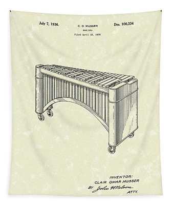 Marimba 1936 Patent Art Tapestry
