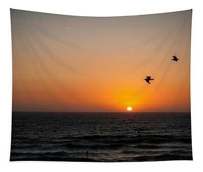 Marina Beach Park Sunset Tapestry