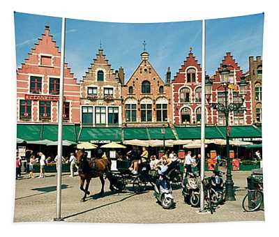 Market At A Town Square, Bruges, West Tapestry