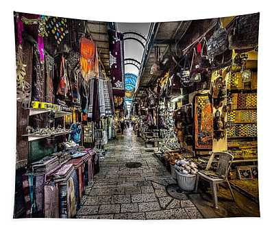 Market In The Old City Of Jerusalem Tapestry
