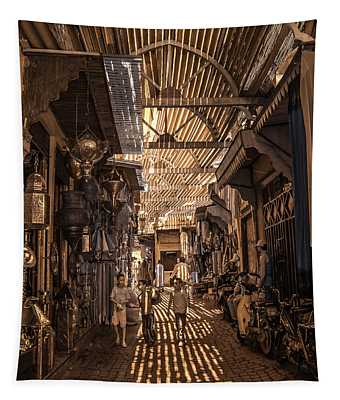 Marrakech Souk With Children Tapestry
