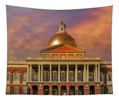 Tapestry featuring the photograph Massachusetts State House by Susan Candelario