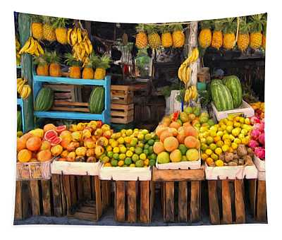 Maui Fruits And Vegetables Tapestry