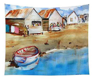 Mauricio's Village - Beach Huts Tapestry
