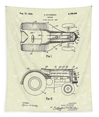 Mccormick Tractor 1939 Patent Art Tapestry by Prior Art Design