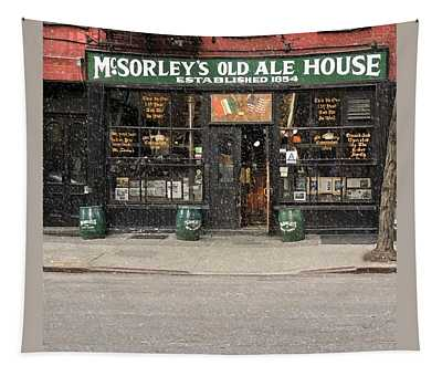 Mcsorley's Old Ale House During A Snow Storm Tapestry