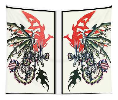 Mech Dragons Collide Tapestry