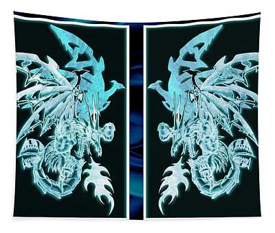 Mech Dragons Diamond Ice Crystals Tapestry