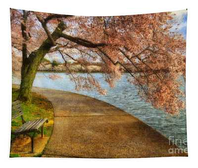 Meet Me At Our Bench Tapestry