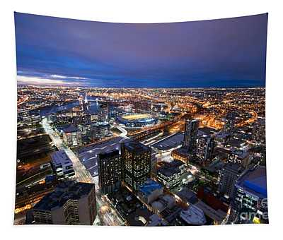 Melbourne At Night Tapestry