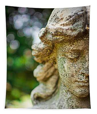 Memphis Elmwood Cemetery - Girl With Cross Close-up Tapestry