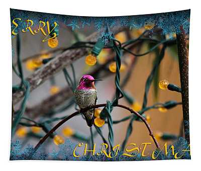 Merry Christmas Hummer Tapestry